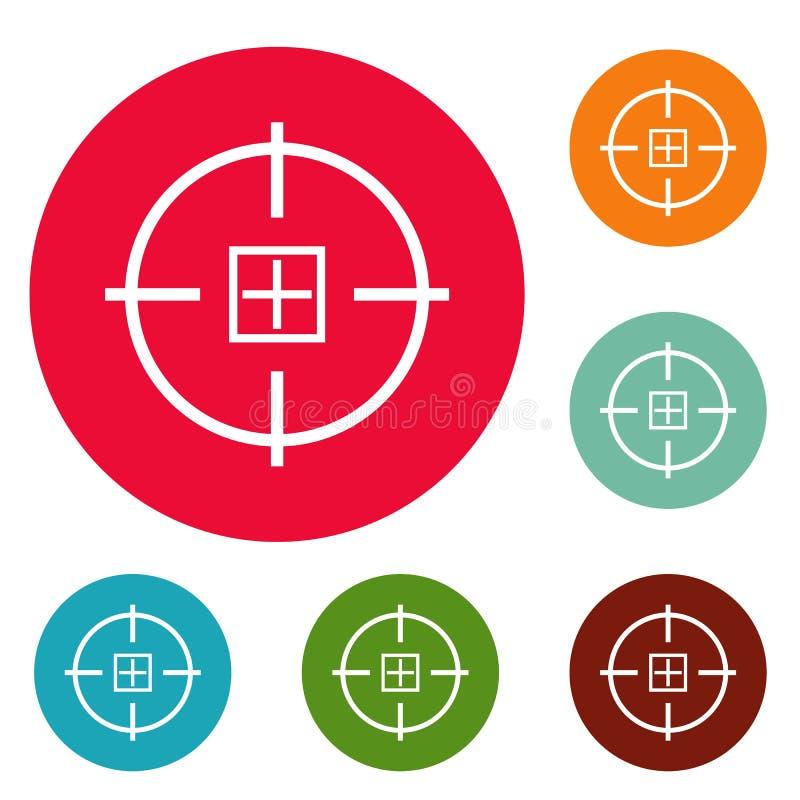 Ensemble optique de cercle d'icônes de mission illustration libre de droits