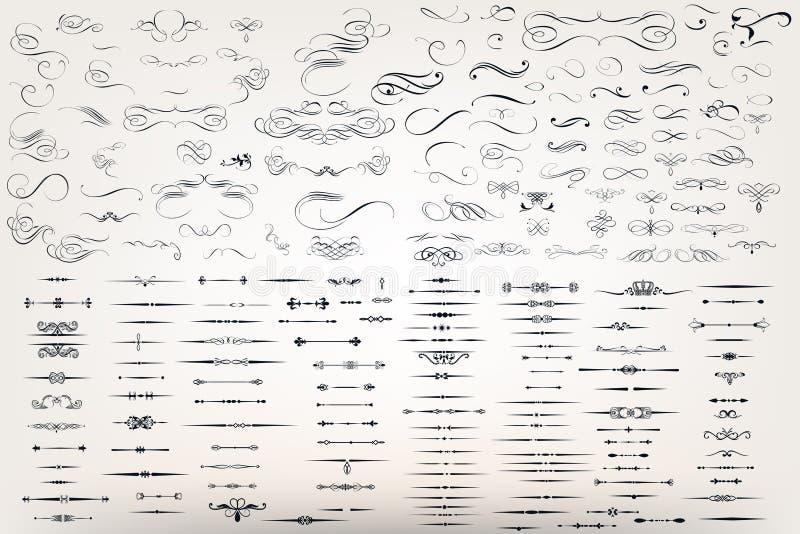 Ensemble ou collection énorme de flourishes en filigrane de vecteur illustration libre de droits
