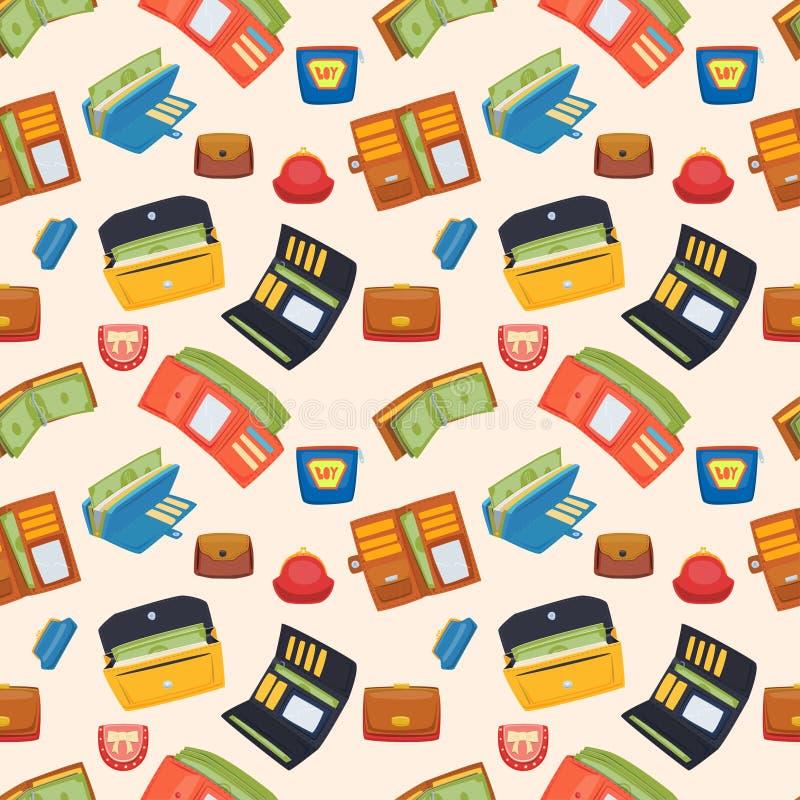Ensemble ouvert de vecteur de portefeuille de bourse illustration stock