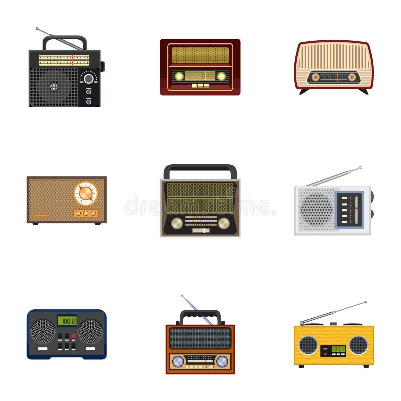 Ensemble par radio classique d'icône, style plat illustration libre de droits