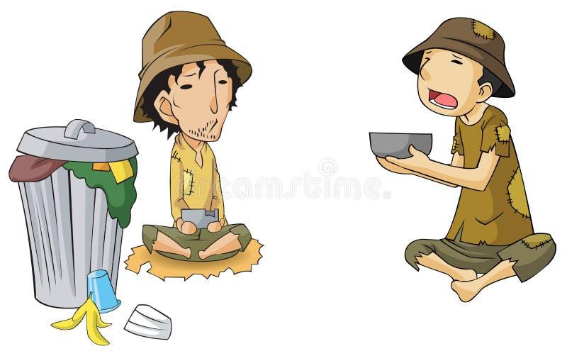 Ensemble pauvre de collection d'icône de mendiant illustration de vecteur