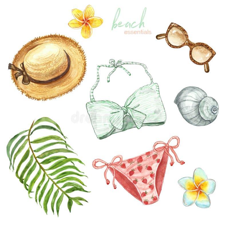 Ensemble peint à la main d'été de plage d'aquarelle Vêtements de bain, équipement, chapeau de paille, lunettes de soleil, plantes illustration libre de droits