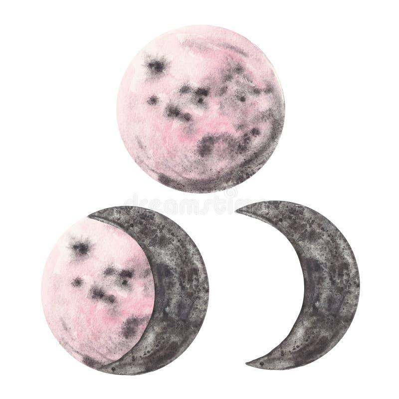 Ensemble peint à la main de phases de lune d'aquarelle Moitié et pleines planètes de rose et grises, d'isolement sur le fond blan illustration libre de droits
