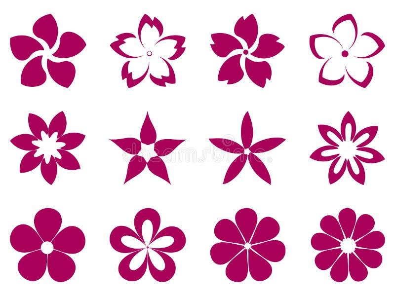 Ensemble peu commun de vecteur de fleurs illustration de vecteur