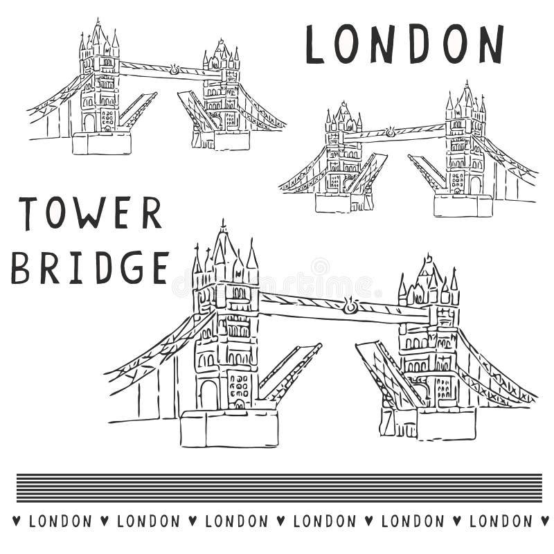 Ensemble peu précis d'illustration de pont de tour de Londres Monument britannique historique célèbre illustration de vecteur