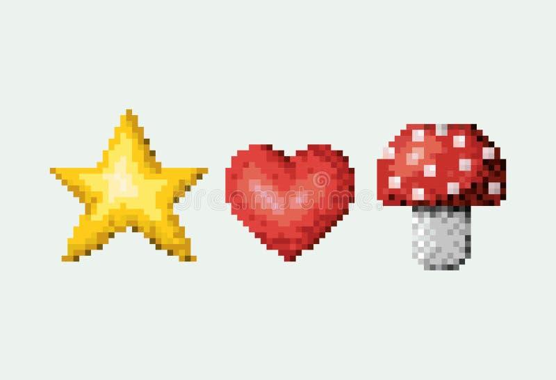 Ensemble pixelated par couleur d'étoile et de coeur avec le champignon illustration libre de droits