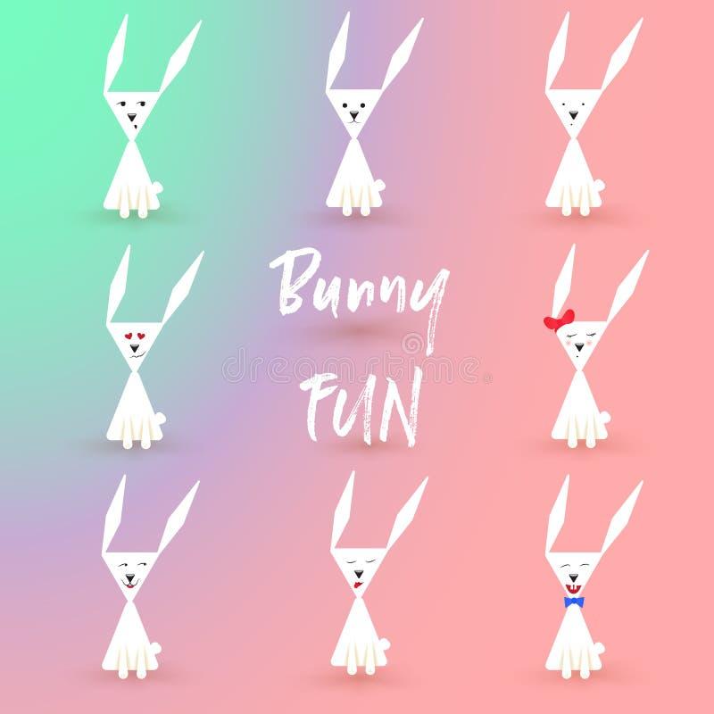 Ensemble plat blanc d'emoji de caractère de Bunny Cartoon Illustration de vecteur Lettrage d'amusement de lapin, lapin de Pâques illustration de vecteur