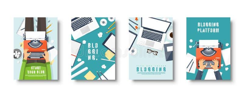Ensemble plat bloguant de couvertures de style Cr?ez votre blog, vlog Machine ? ?crire avec des mains Illustration de vecteur illustration stock