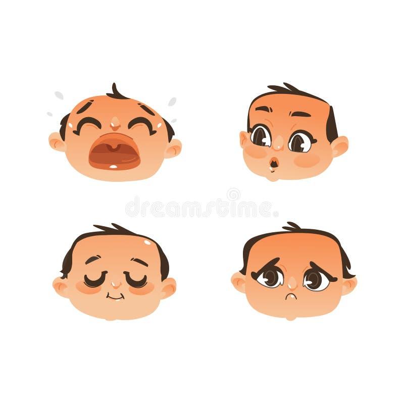 Ensemble plat d'émotion d'expression de visage de bébé de vecteur illustration stock