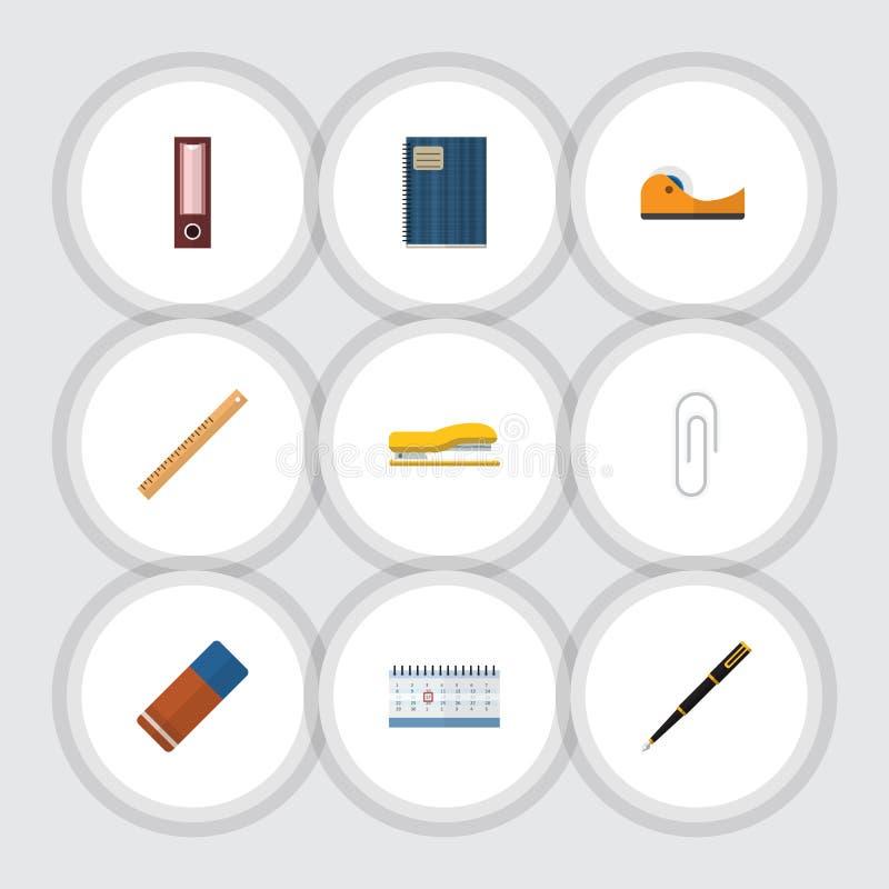 Ensemble plat d'équipement d'icône de collant, d'en caoutchouc, cahier et d'autres objets de vecteur Inclut également la reliure, illustration stock