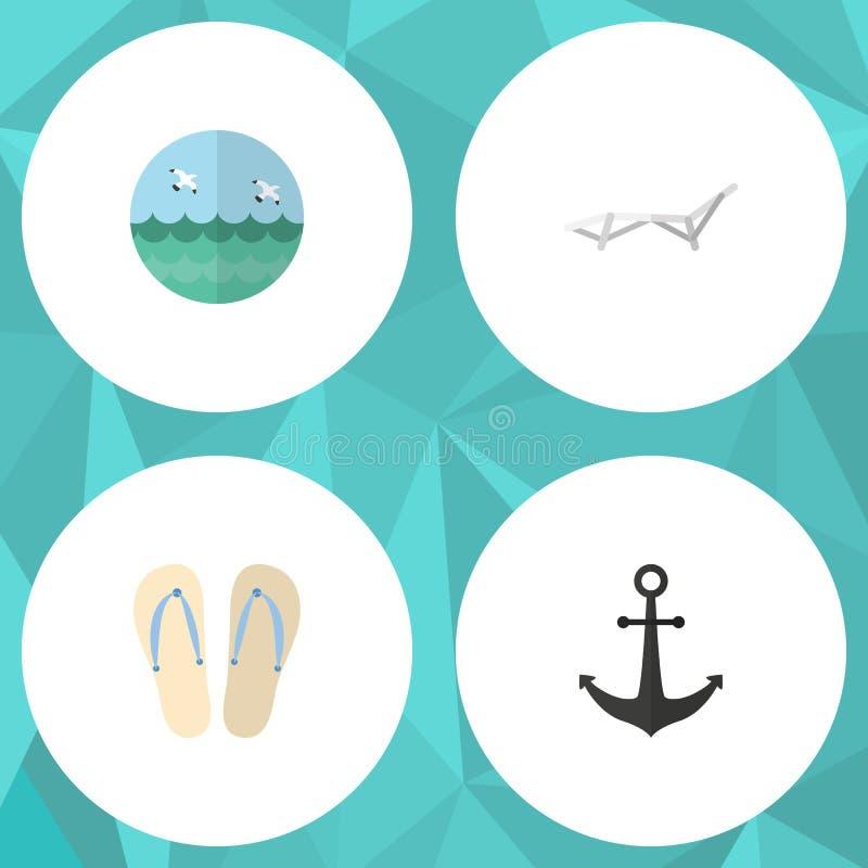 Ensemble plat d'été d'icône de sandales de plage, chaise de plate-forme, objets de vecteur de crochet de bateau Inclut également  illustration stock