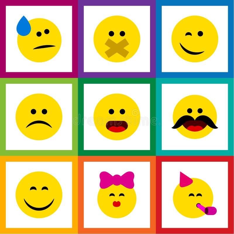 Ensemble plat d'Emoji d'icône de gai, de larmes, de caresse et d'autres objets de vecteur Inclut également le froncement de sourc illustration libre de droits