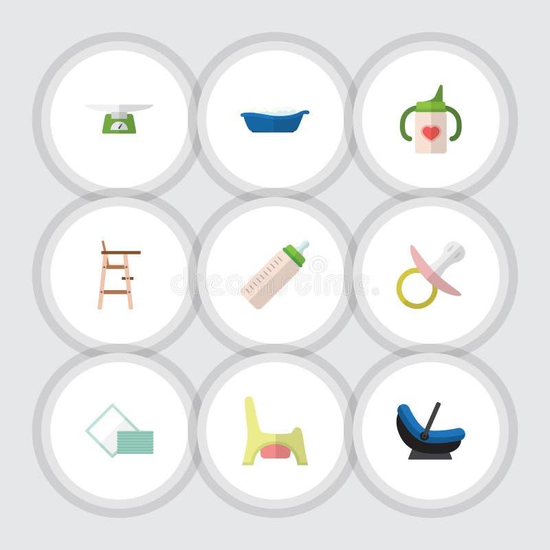 Ensemble plat d'enfant d'icône de mamelon, d'échelles d'enfants, de toilette et d'autres objets de vecteur Inclut également des e illustration libre de droits
