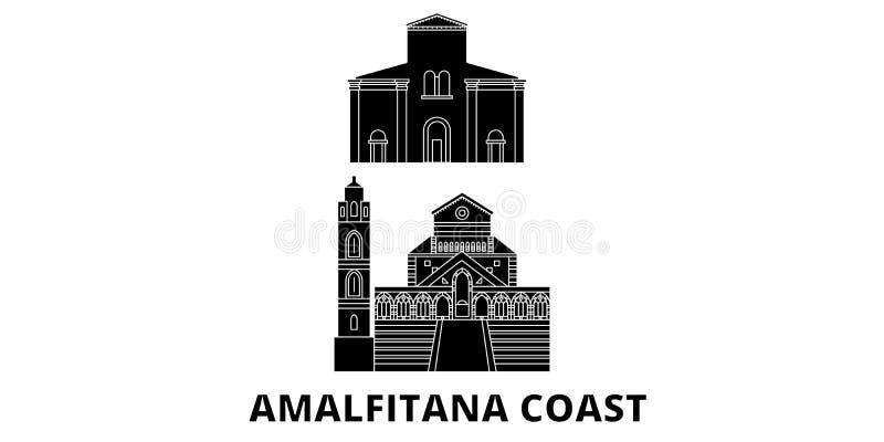 Ensemble plat d'horizon de voyage de côte de l'Italie, Amalfi Illustration de vecteur de ville de noir de côte de l'Italie, Amalf illustration libre de droits