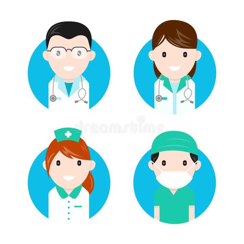 Ensemble plat d'icône de caractères de personnel médical illustration de vecteur
