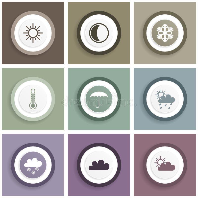 Ensemble plat d'icône de conception, illustrations d'Internet, signes de prévisions météorologiques illustration libre de droits