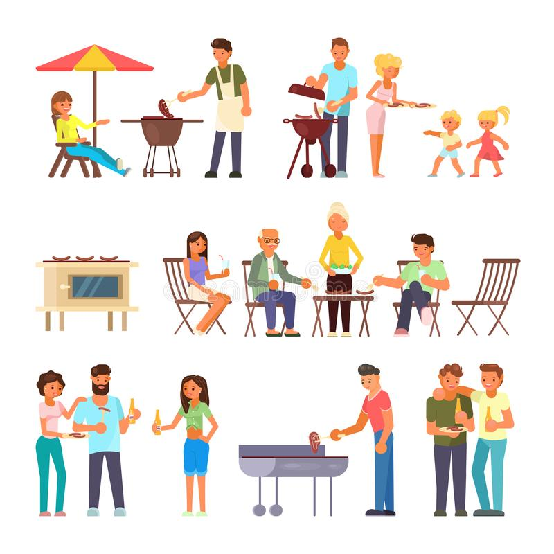 Ensemble plat d'icône de conception de style de vecteur de personnes de barbecue illustration de vecteur