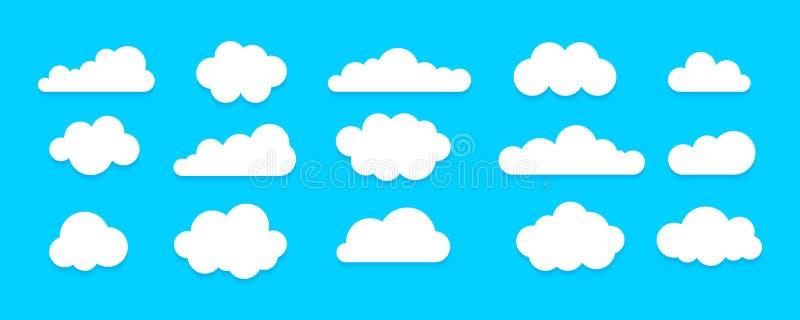 Ensemble plat d'icône de nuage illustration stock