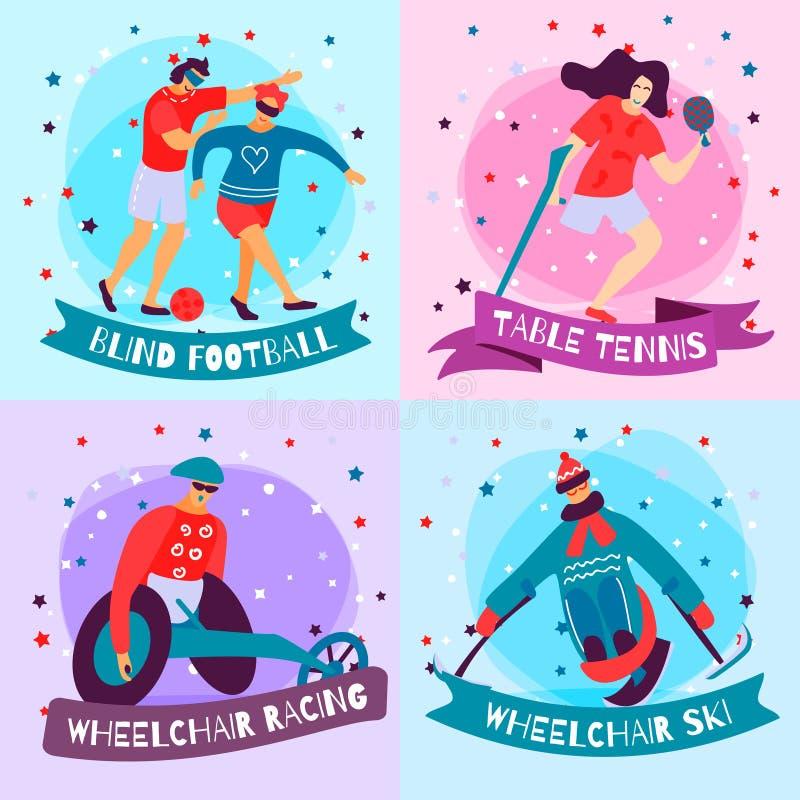 Ensemble plat d'icône de sport de handicapés illustration stock