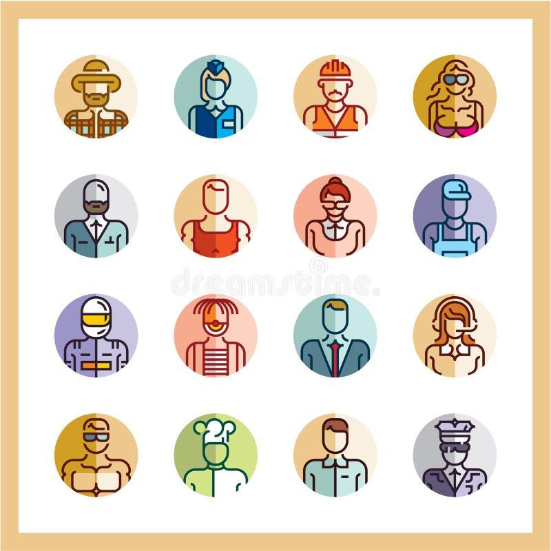 Ensemble plat d'icône de style d'icônes de professions, avatars, icônes plates de personnes, icônes de cercle, profession, travai illustration stock