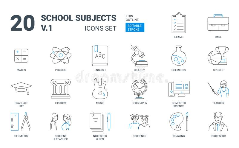Ensemble plat d'icône d'ensemble de sujets d'éducation d'école illustration libre de droits