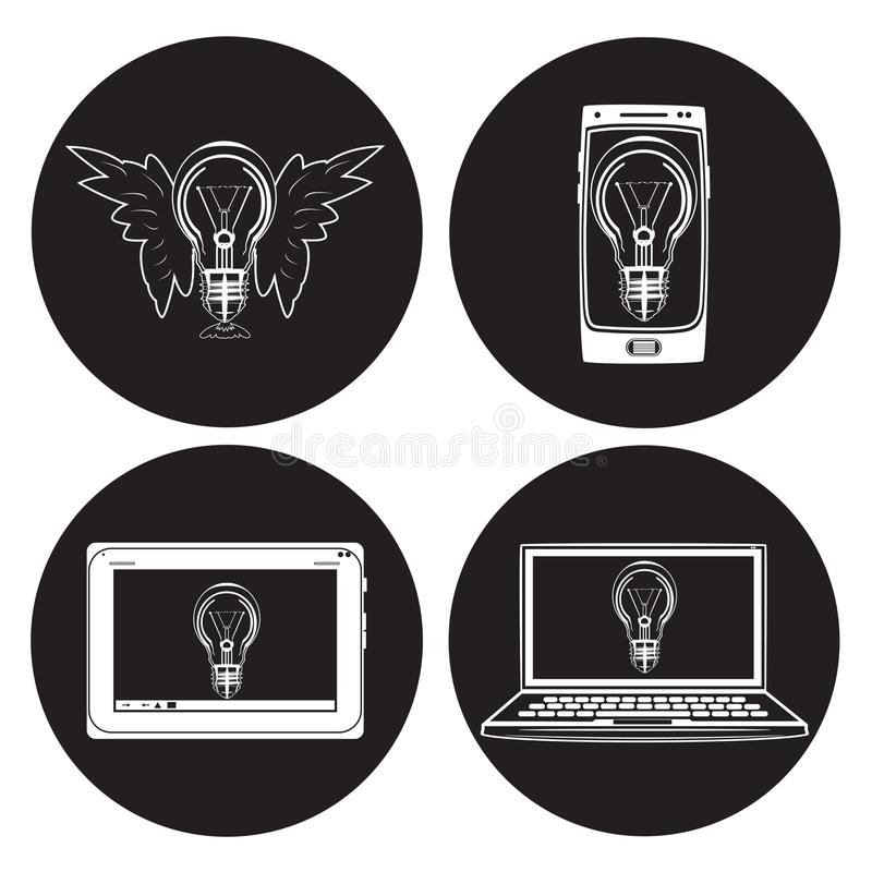Ensemble plat d'icône de vecteur d'ampoule illustration de vecteur
