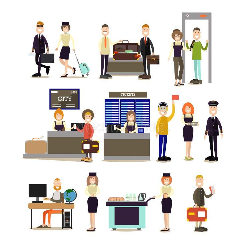 Ensemble plat d'icône de vecteur de personnes d'aéroport illustration libre de droits