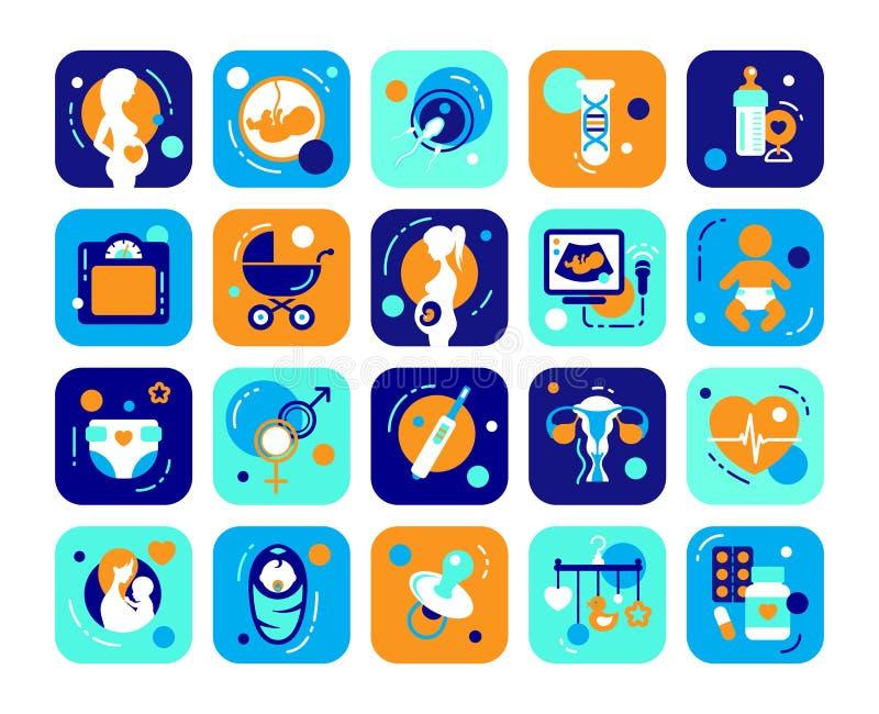 Ensemble plat d'icônes de grossesse et de bébé illustration libre de droits