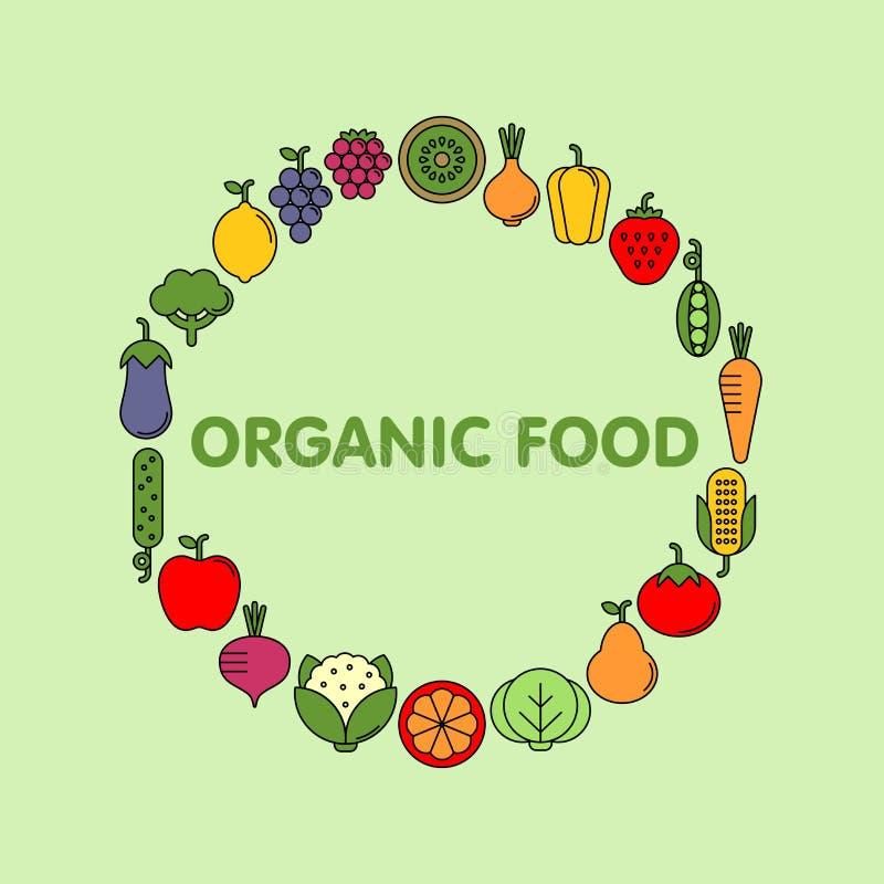 Ensemble plat d'icônes de vecteur de légumes, de fruits et de baies photo libre de droits
