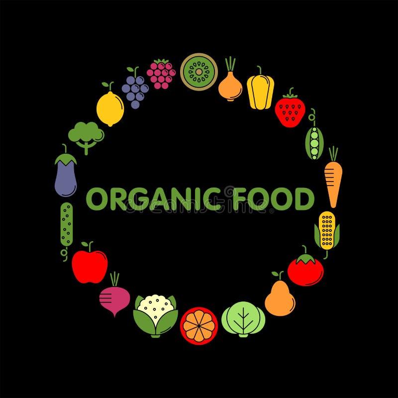 Ensemble plat d'icônes de vecteur de légumes, de fruits et de baies photographie stock