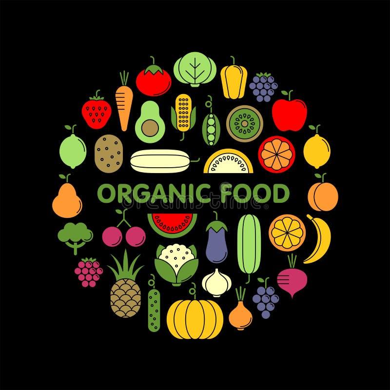 Ensemble plat d'icônes de vecteur de légumes, de fruits et de baies photographie stock libre de droits