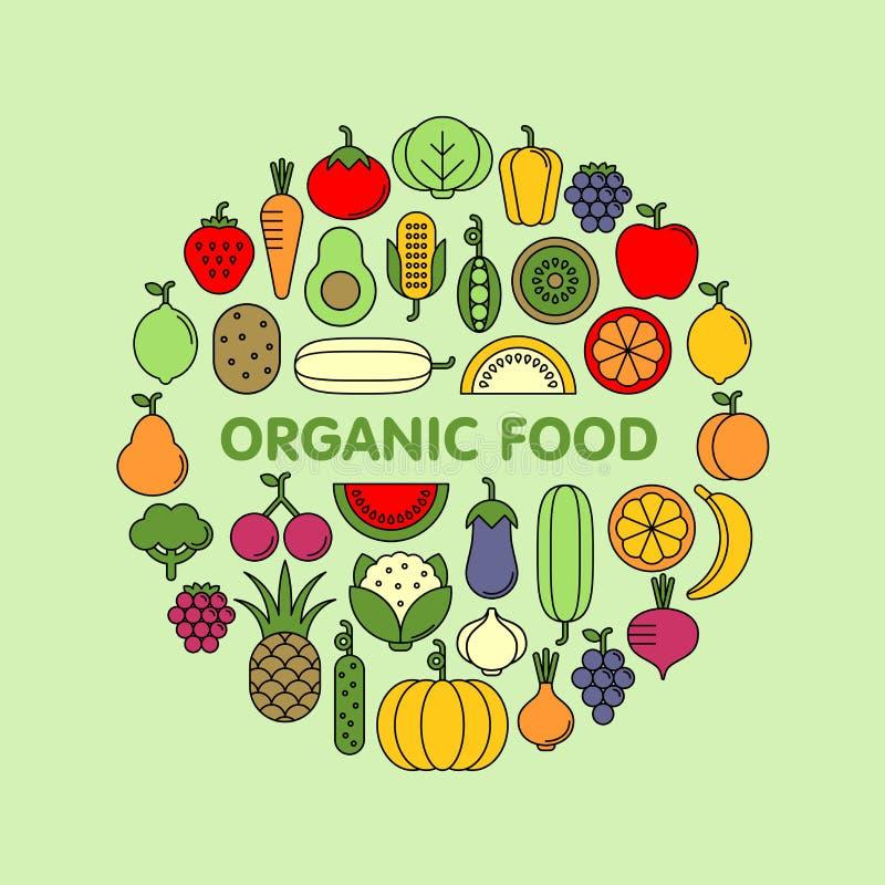 Ensemble plat d'icônes de vecteur de légumes, de fruits et de baies image libre de droits