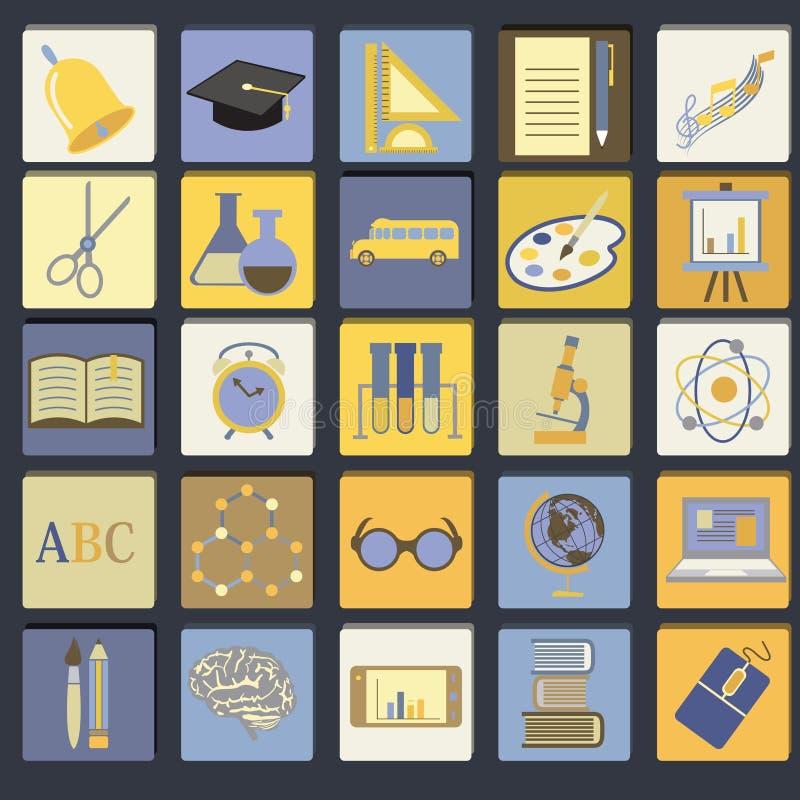 Ensemble plat d'icône d'école d'éducation illustration stock