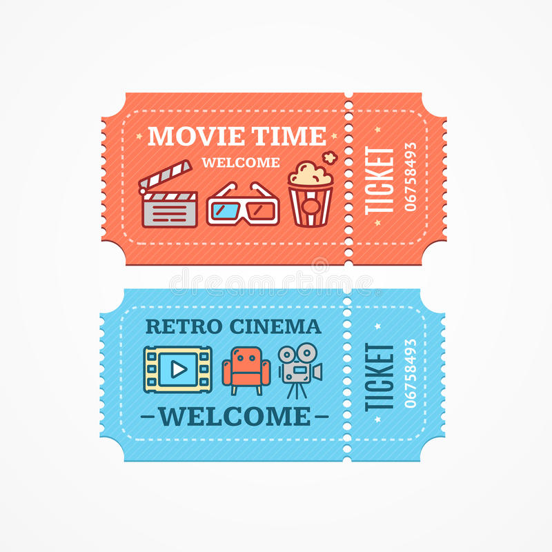Ensemble plat d'icône de billets de cinéma Vecteur illustration libre de droits