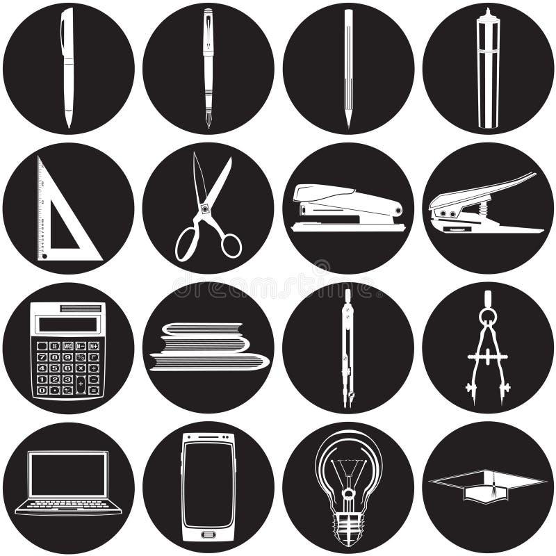 Ensemble plat d'icône de bureau et d'école de vecteur illustration libre de droits