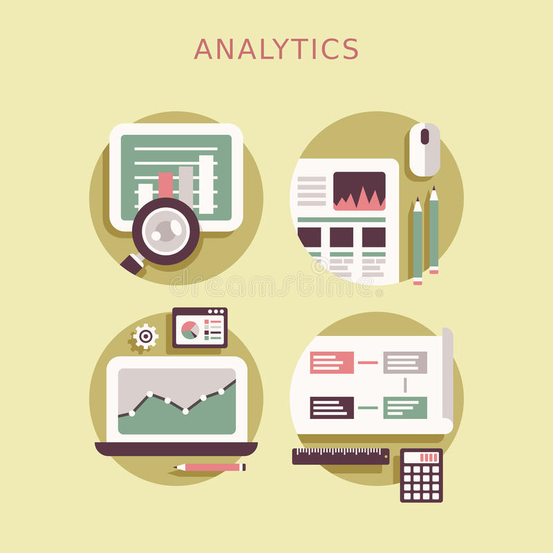 Ensemble plat d'icône de conception d'éléments d'analytics illustration stock