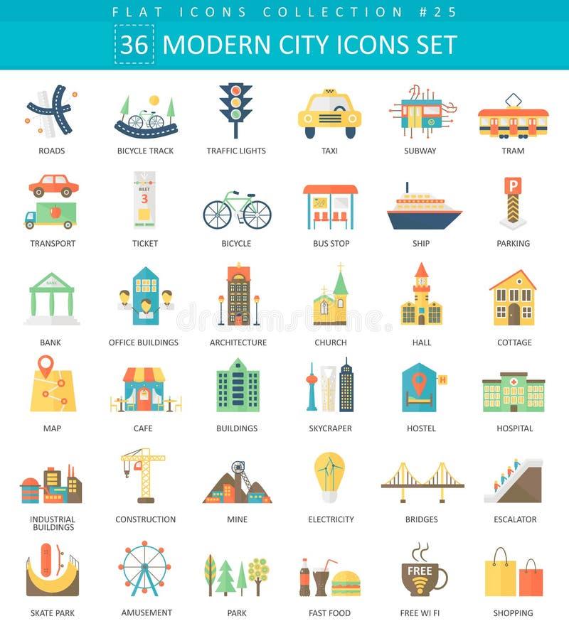 Ensemble plat d'icône de couleur moderne de ville de vecteur Conception de style élégant illustration libre de droits