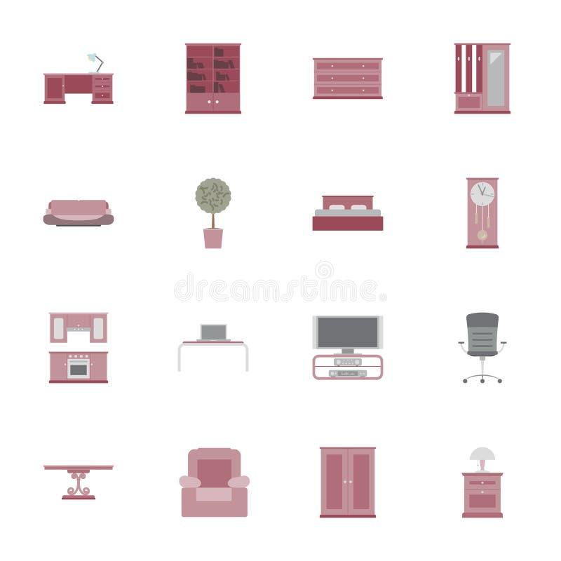 Ensemble plat d'icône de meubles illustration libre de droits