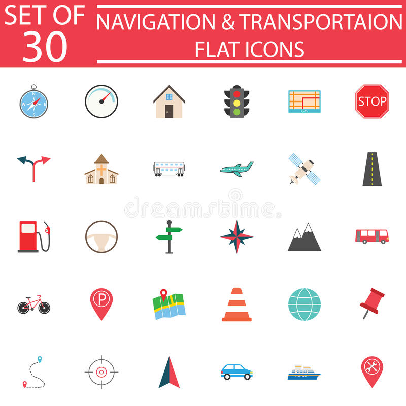 Ensemble plat d'icône de navigation, signes de transport illustration de vecteur