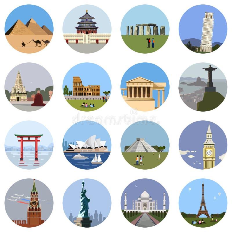 Ensemble plat d'icône de points de repère du monde illustration stock