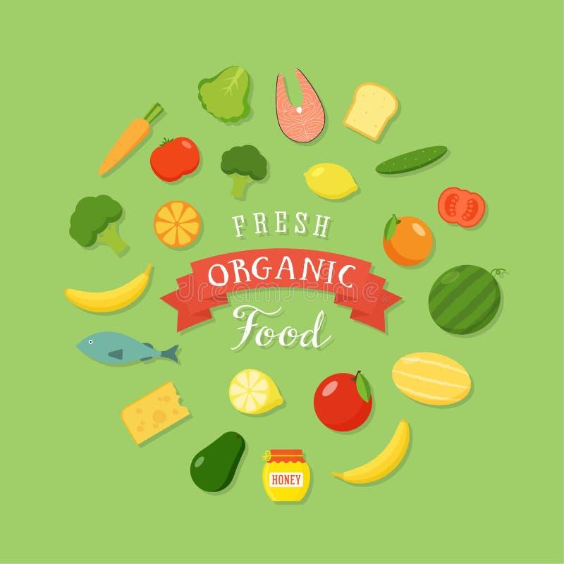 Ensemble plat d'icône de style d'aliment biologique frais illustration de vecteur