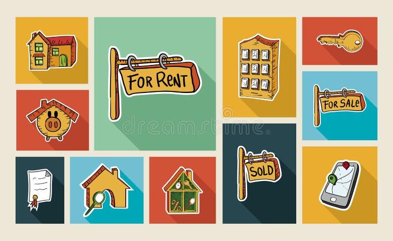 Ensemble plat d'icône de style de croquis d'immobiliers illustration de vecteur