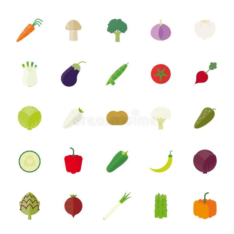 Ensemble plat d'icône de vecteur de conception de légumes illustration de vecteur