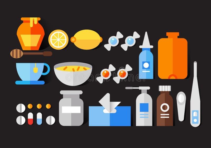 Ensemble plat d'icône de vecteur de froid et de grippe illustration stock
