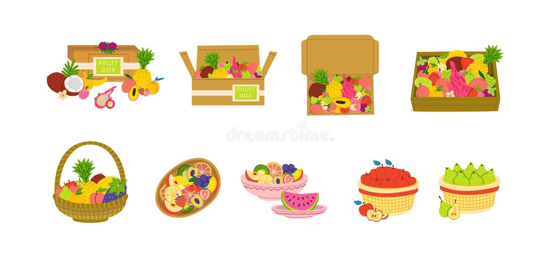 Ensemble plat d'illustration de vecteur de paquets de fruit illustration stock