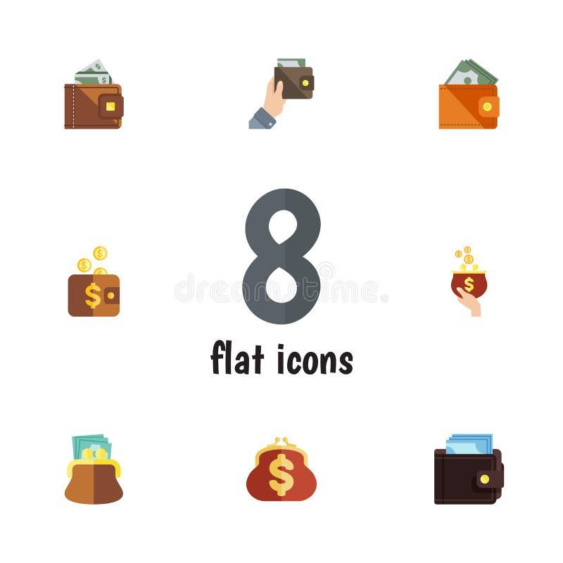 Ensemble plat de bourse d'icône de portefeuille, de portefeuille, de devise et d'autres objets de vecteur Inclut également le pai illustration de vecteur