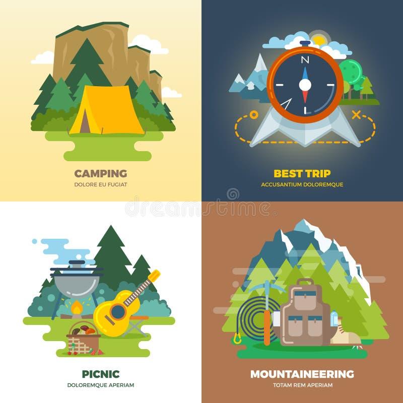 Ensemble plat de concept de fond de camp extérieur d'aventure illustration libre de droits