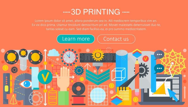 ensemble plat de concept de technologie de l'imprimante 3d 3d en-tête de Web modelant, impression et balayer illustration de vecteur