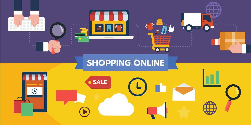 Ensemble plat de conception d'icône d'illustration de concepts en ligne de achat, écoulement d'utilisateur d'achat et paiement illustration libre de droits