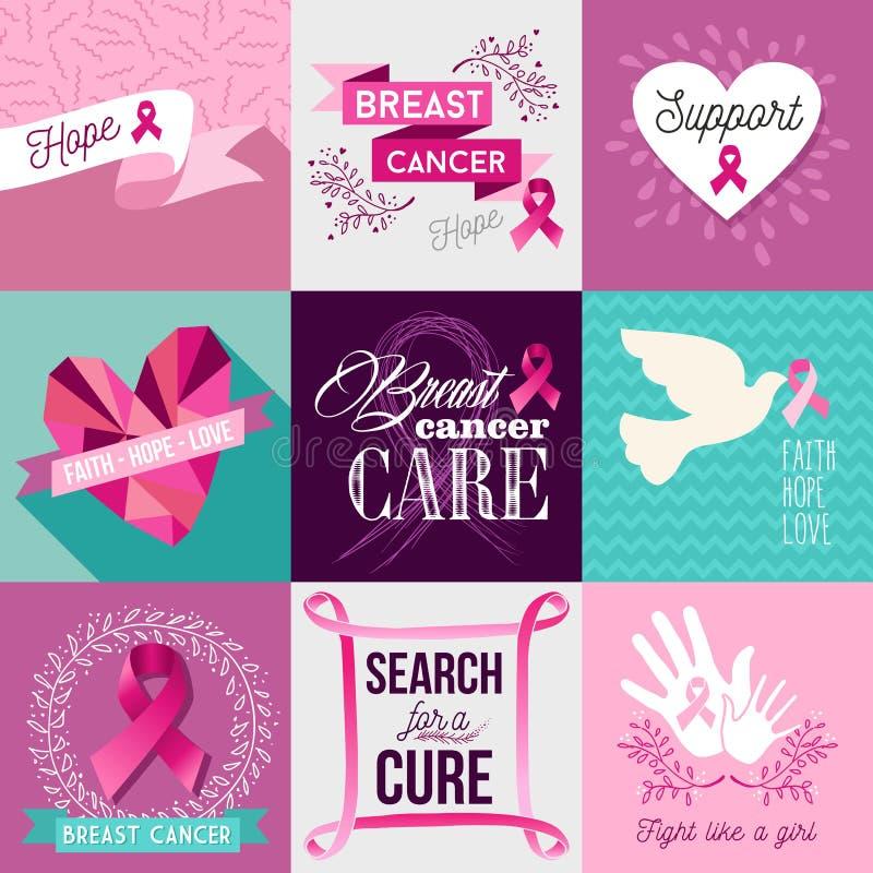 Ensemble plat de conception de campagne de sensibilisation de cancer du sein illustration stock